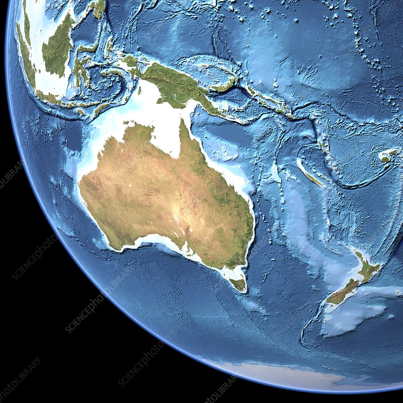 Map Of Southeast Asia Australia And New Zealand.Australia Topographic Map Stock Image C001 9121 Science Photo