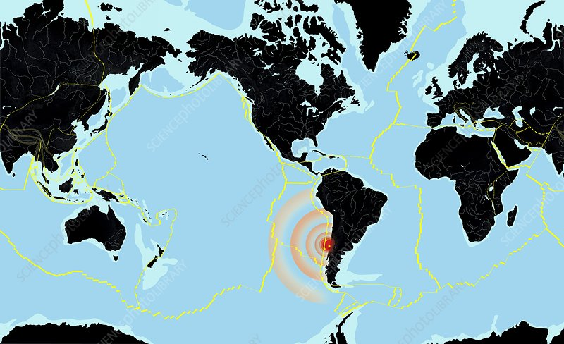 Chile On World Map Chile 2010 earthquake, world map   Stock Image   C004/9720