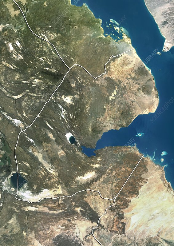 Djibouti, satellite image - Stock Image - C012/4514 ... on topo map of djibouti, political map of djibouti, sports of djibouti, detailed map of djibouti, terrain map of djibouti, outline map of djibouti, blank map of djibouti, world map of djibouti, street map of djibouti, physical map of djibouti, topographical map of djibouti,