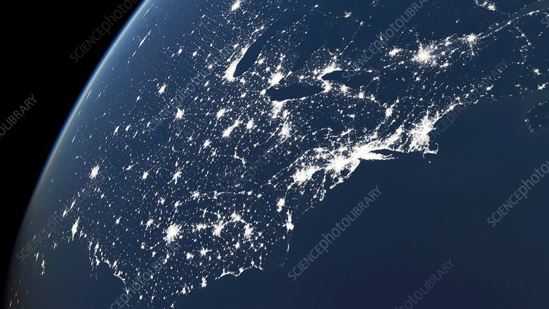 Map Of America Eastern Seaboard.North America Eastern Seaboard At Night Stock Image C013 7716