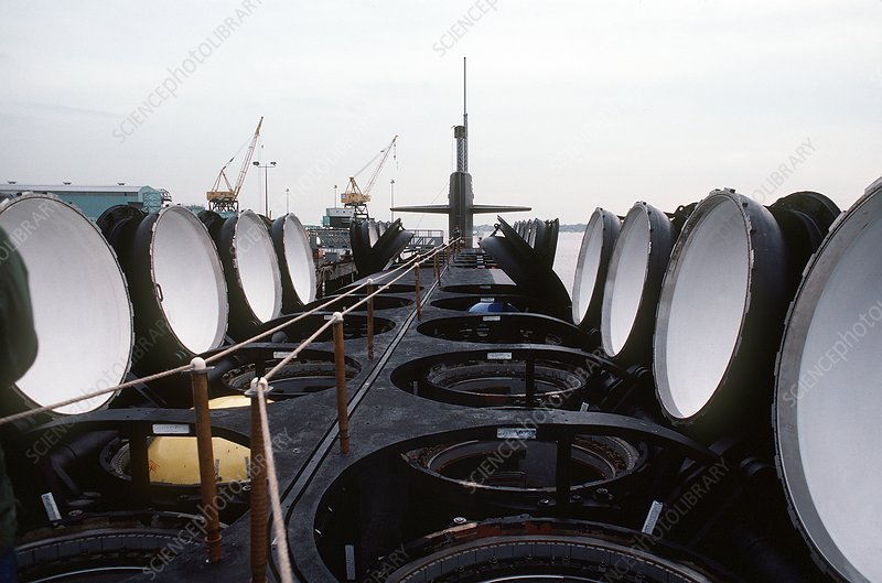 Missile tubes on submarine - Stock Image - C016/6618 - Science Photo Library