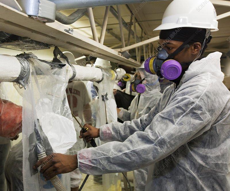 Asbestos removal training - Stock Image - C020/8559