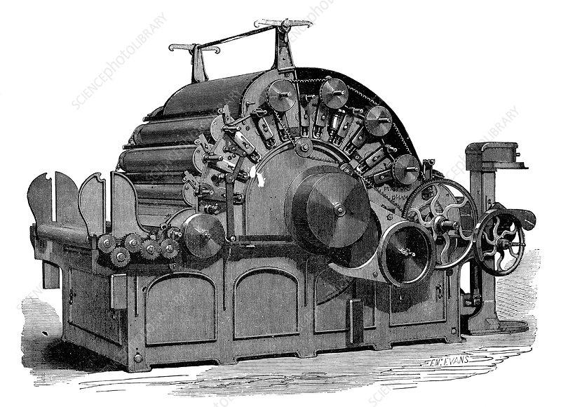 Carding machine, 19th century - Stock Image - C022/9413 - Science ...