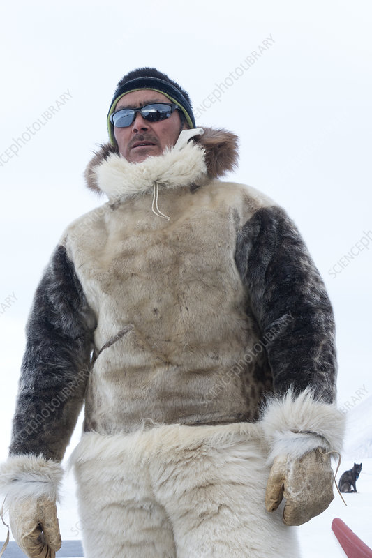 Inuit Hunter Stock Image C026 2371, What Are Eskimo Coats Made Of