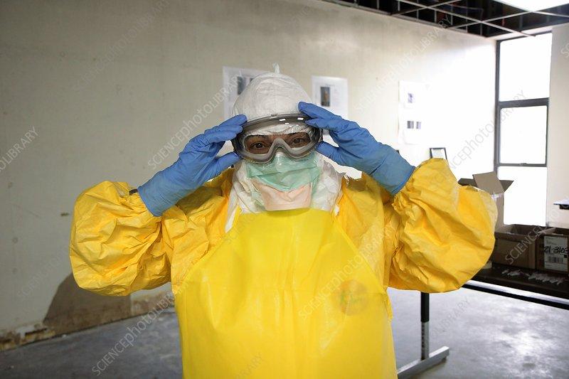 Ebola care training exercise - Stock Image - C026/6143 - Science
