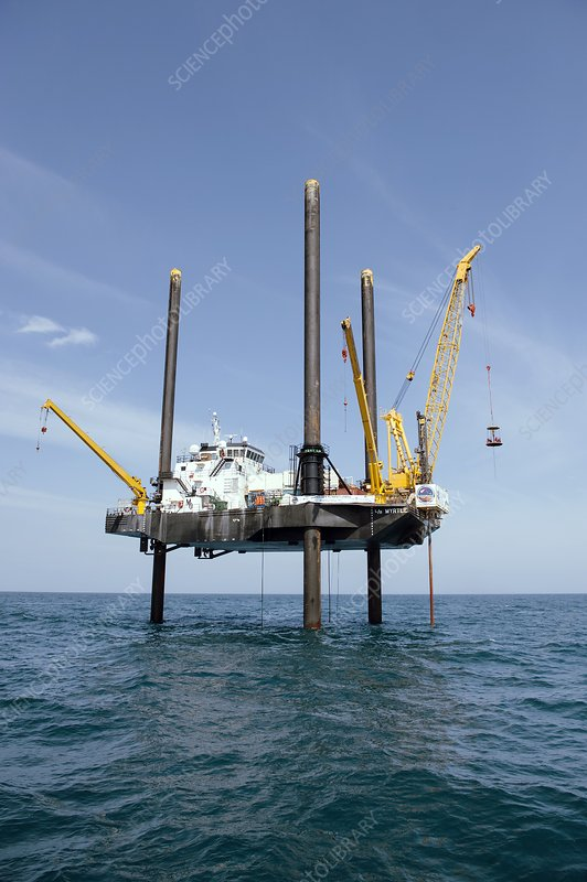 Chicxulub Crater research drilling boat - Stock Image - C029