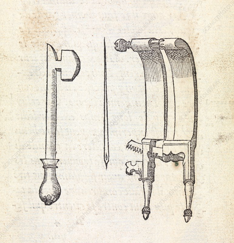 Hernia surgery instruments, 16th century - Stock Image