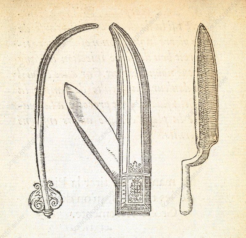 Hernia surgery instruments, 16th century - Stock Image