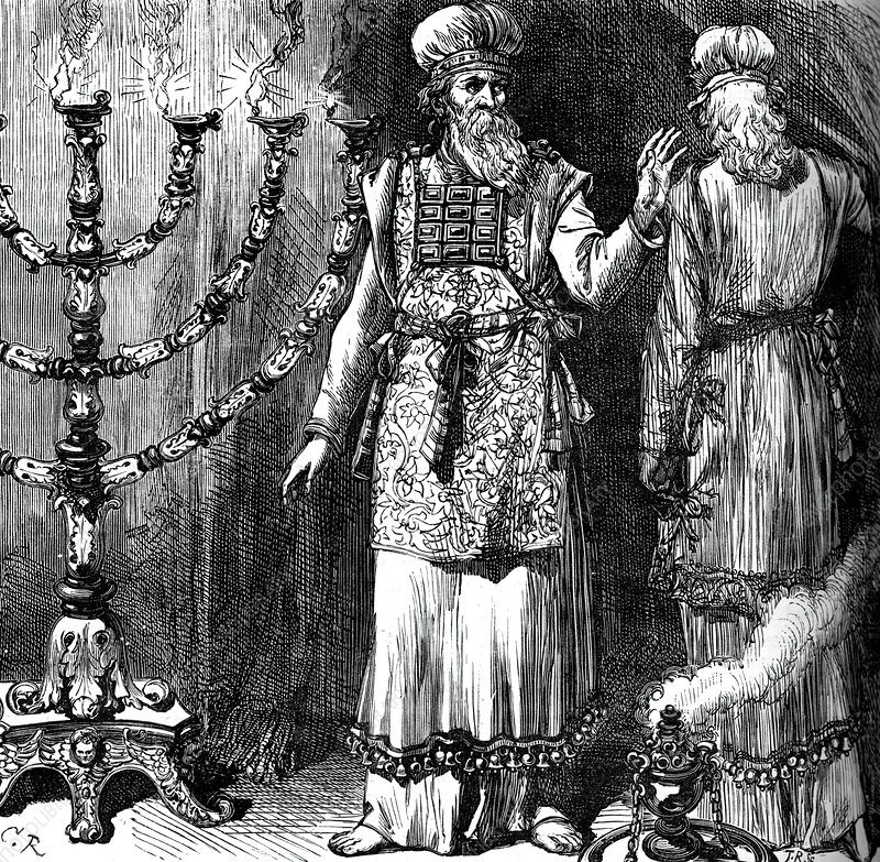High priests, showing the ephod and linen robes - Stock Image - C042/7458 -  Science Photo Library