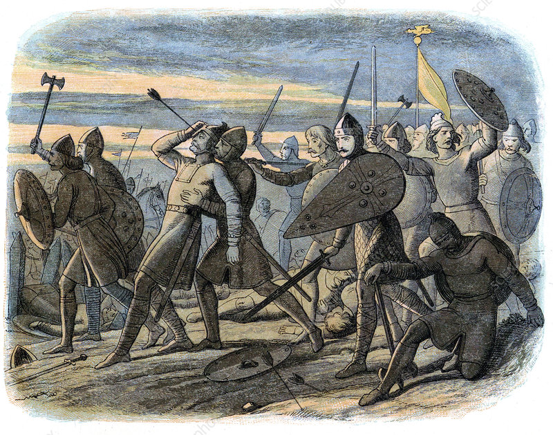 Death of King Harold, Battle of Hastings, 1066 - Stock Image - C045/5118 -  Science Photo Library