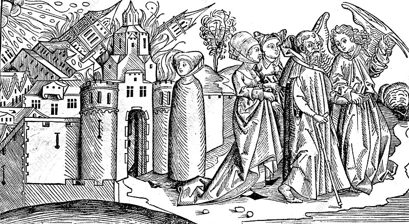 Destruction of Sodom and Gomorrah by earthquake, 1493 - Stock Image -  C045/5465 - Science Photo Library