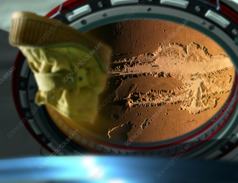 Mars through spacecraft window, illustration - Stock Image