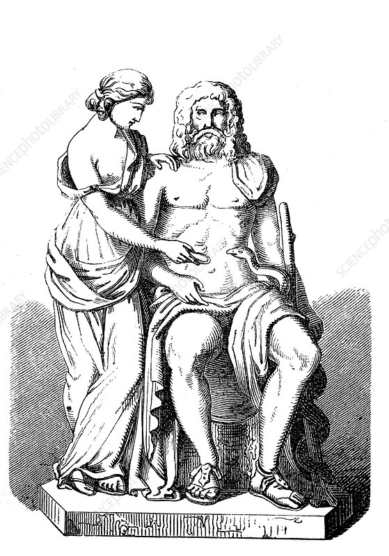 Asclepius and Hygieia, ancient Greek god and goddess - Stock Image -  C052/2389 - Science Photo Library