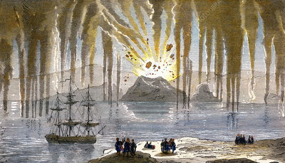 Santorini Eruption 1866 Stock Image E380 0606 Science