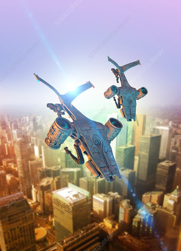 Drones Flying Over Futuristic City Stock Image F018 1487 Science Photo Library