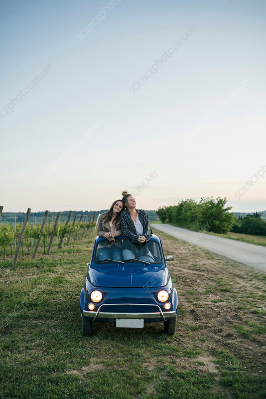 Tourists standing through car sunroof, vineyard, Italy - Stock Image