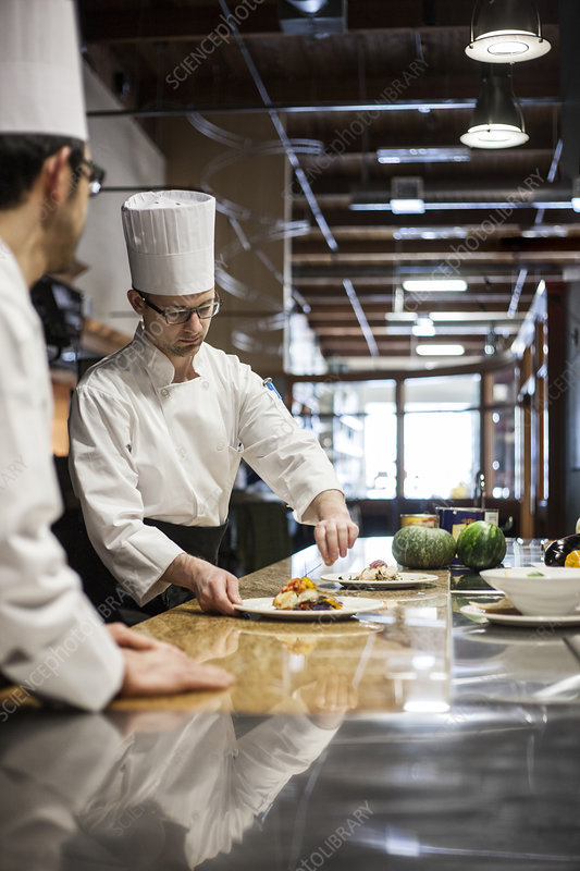 A Crew Of Chef S Working In A Commercial Kitchen Stock Image F023 0650 Science Photo Library