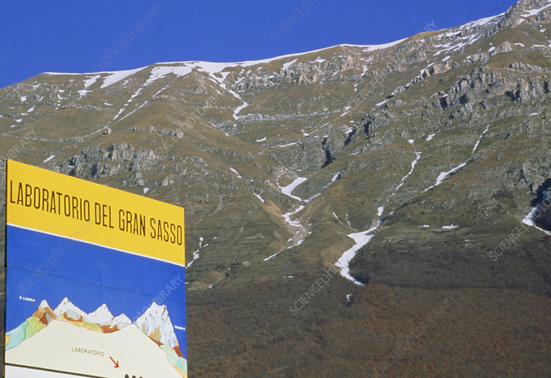 Laboratory sign at Gran Sasso massif, Italy