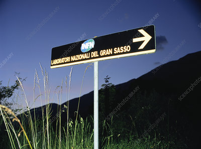 Road sign to Gran Sasso Laboratories