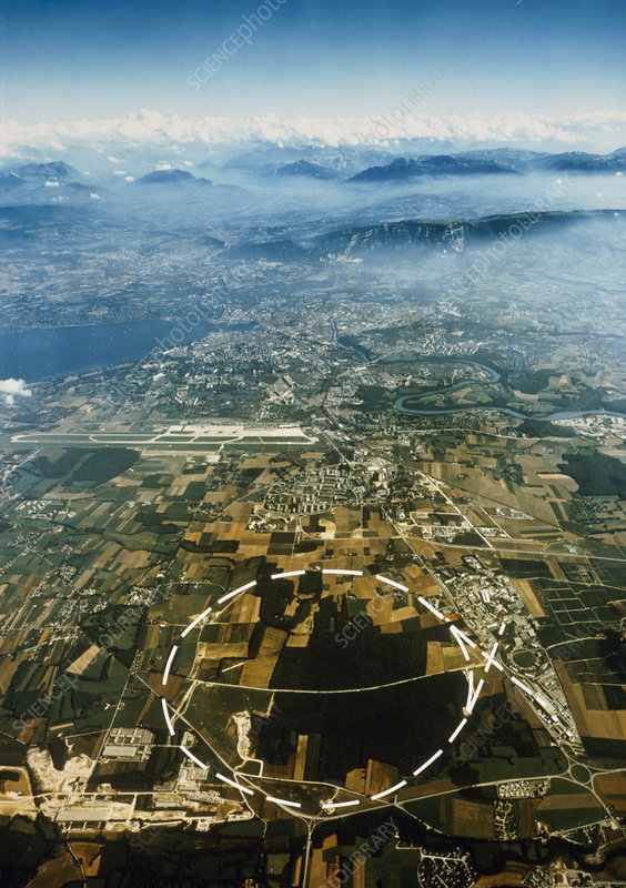 Aerial view of SPS accelerator, CERN