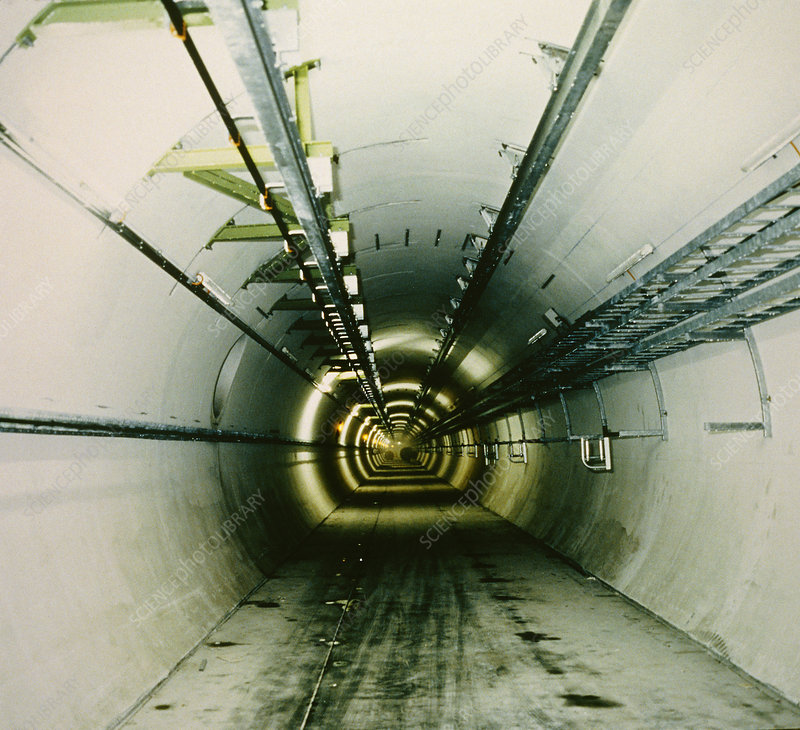 Tunnel of LEP collider, CERN, in 1987