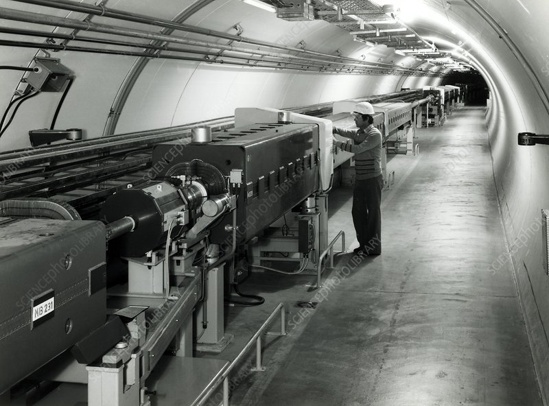 Tunnel of SPS particle accelerator CERN