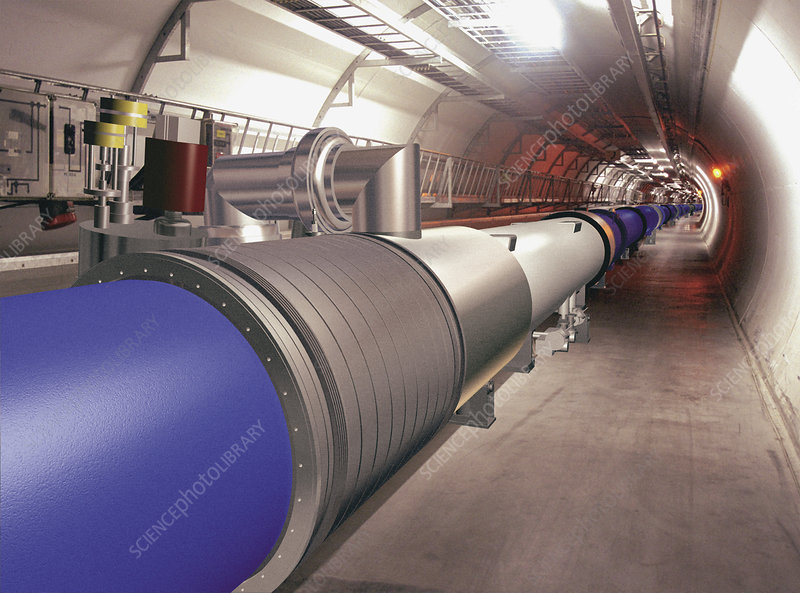 Artwork of Large Hadron Collider tunnel