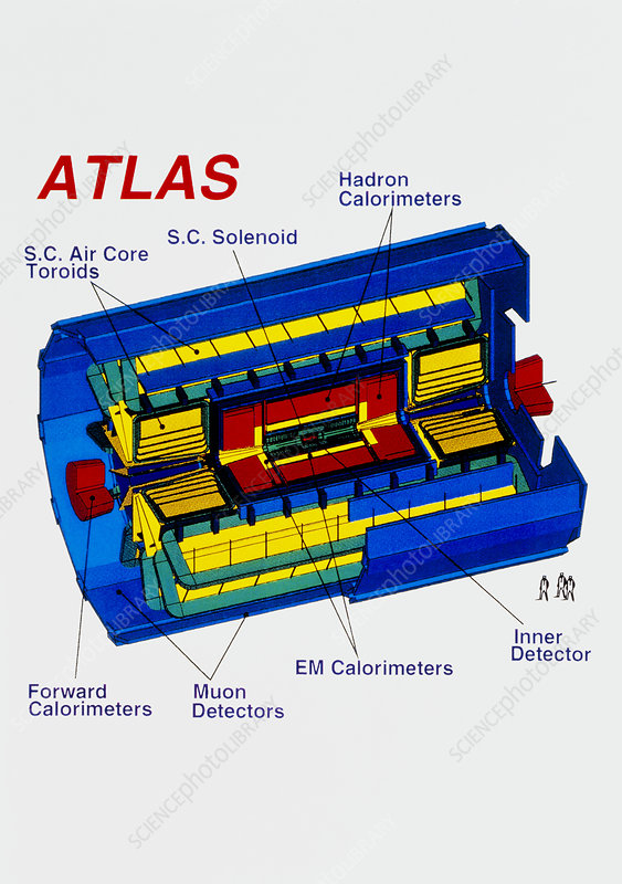 Diagram of ATLAS detector for LHC at CERN