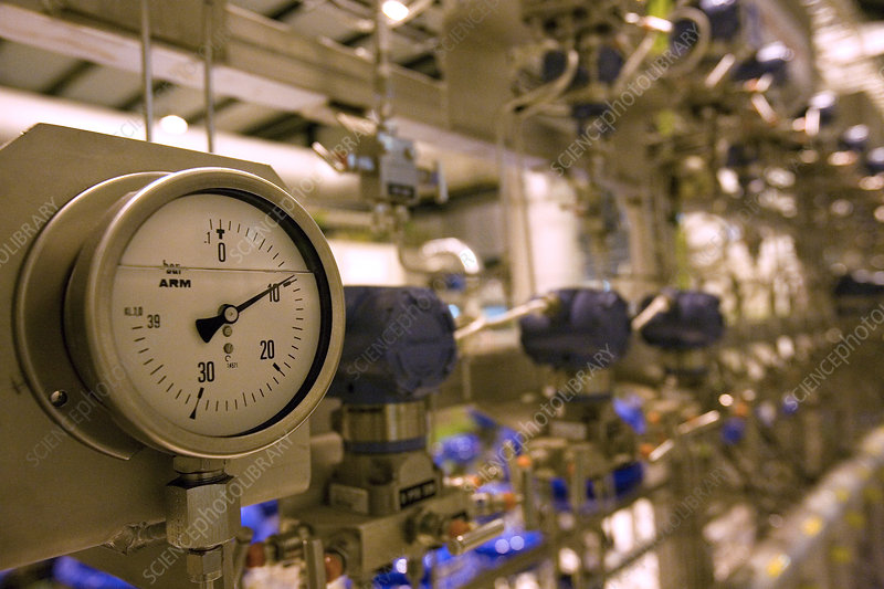 Pressure gauge at cryogenics plant, CERN