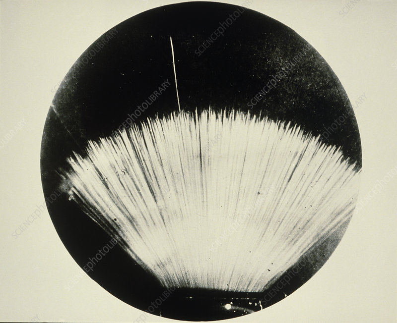 Alpha particle tracks from radioactive source