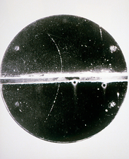 Discovery photo of the positron, 1932
