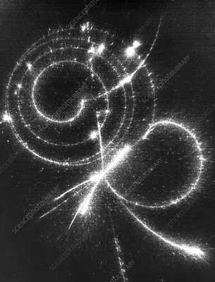 Particle tracks (pi-mu-e decay)