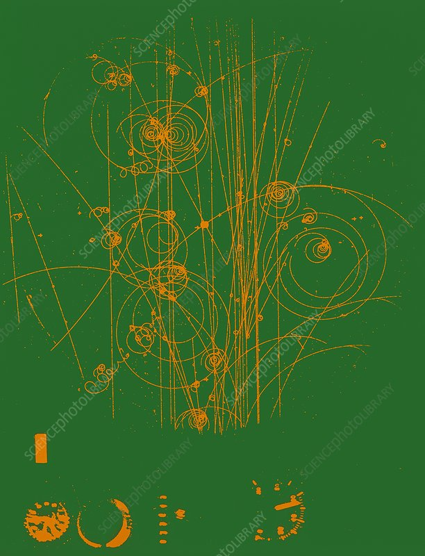 Tracks of charged subatomic particles