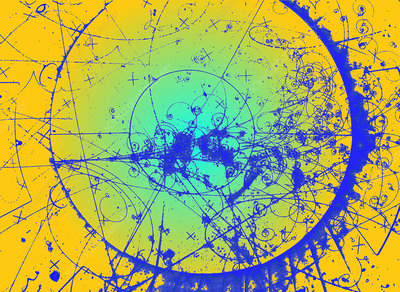 Particle tracks in bubble chamber