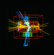 Jets of particles from matter/antimatter collision