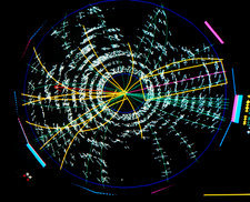 Particle tracks from t quark experiment