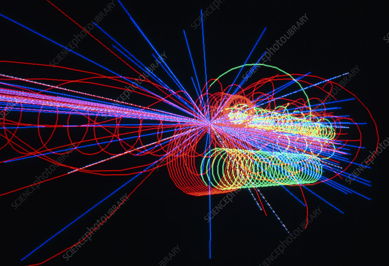 Tracks of subatomic particles colliding