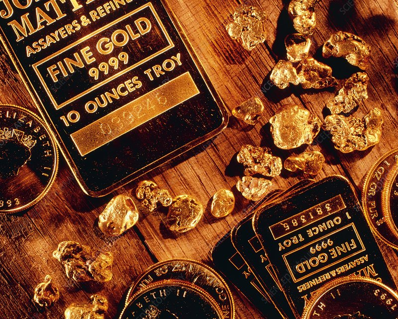 Nuggets, bars and coins made of gold
