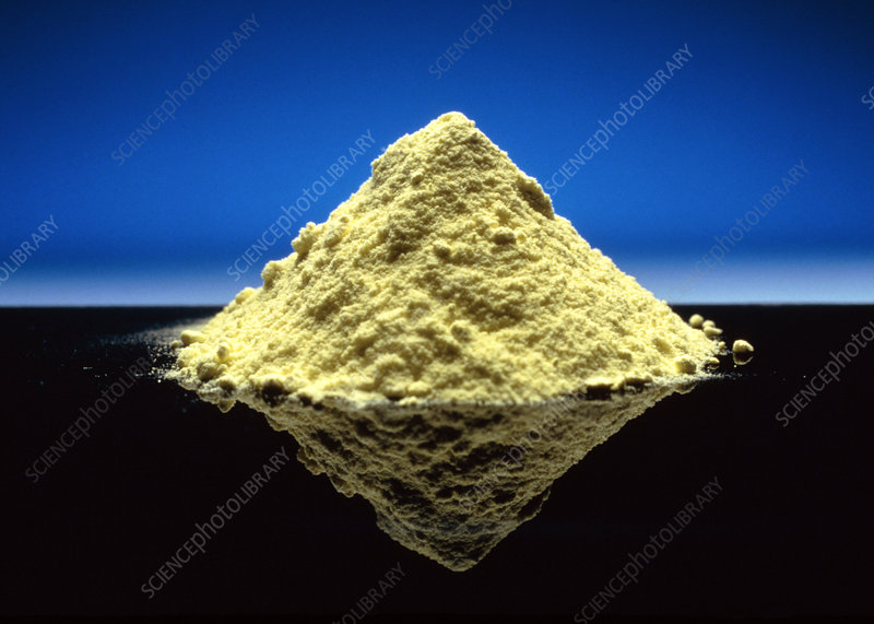 Close-up of pile of sulphur powder