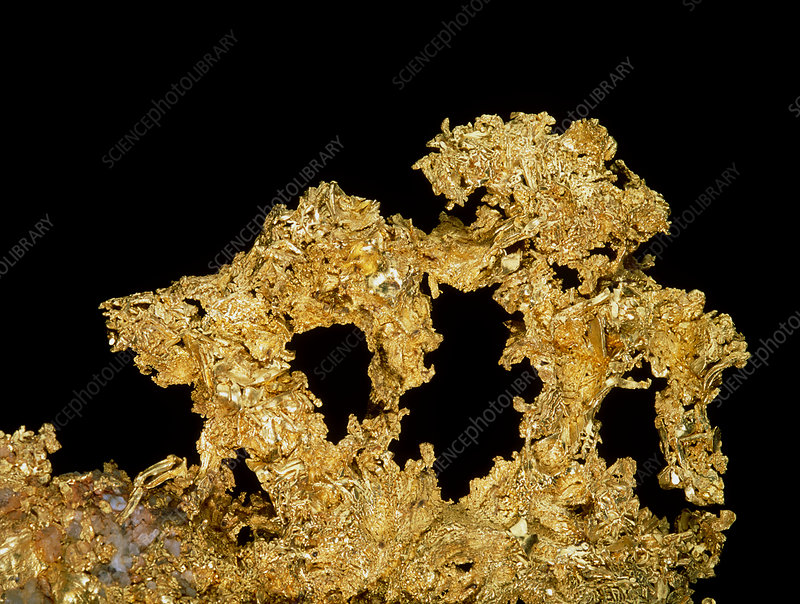 Formations of native gold metal