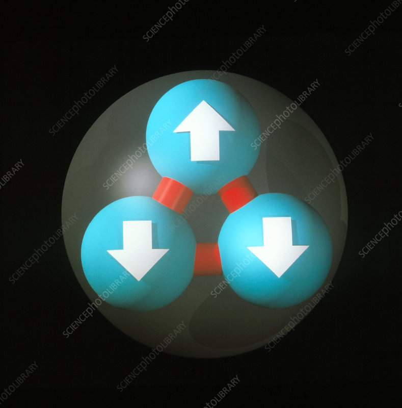 Art of a neutron showing constituent quarks