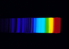 Spectrum of Sun showing absorption lines