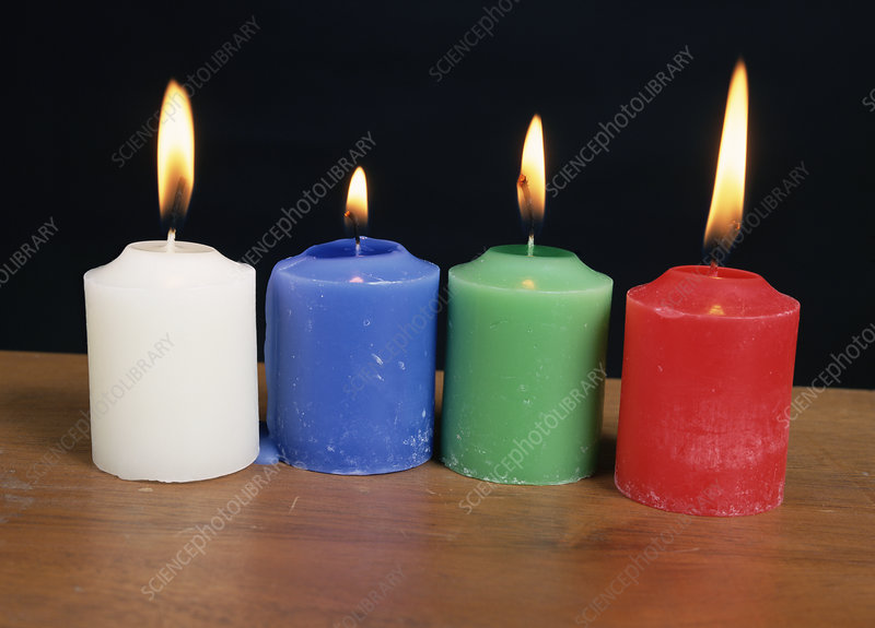 Candles under white light