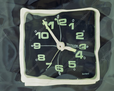 Distorted image of a clock face