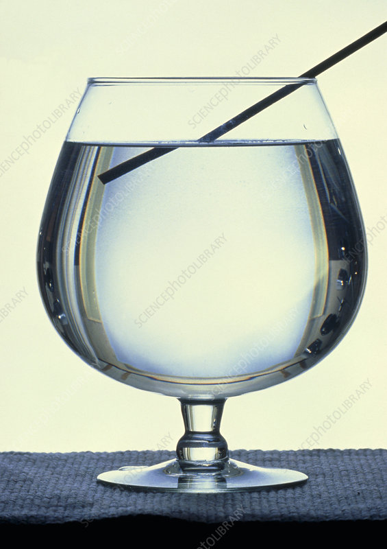 Rod refracted in a glass of water