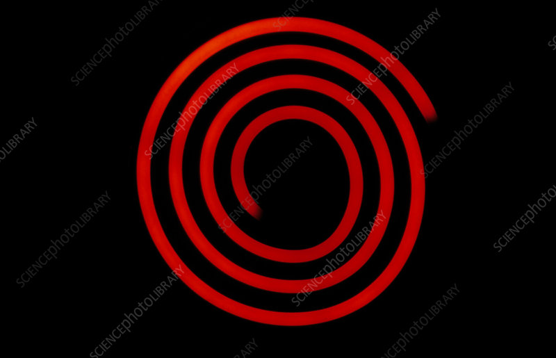 Spiral cooker element glowing red