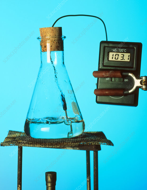 Water boiling in a conical flask