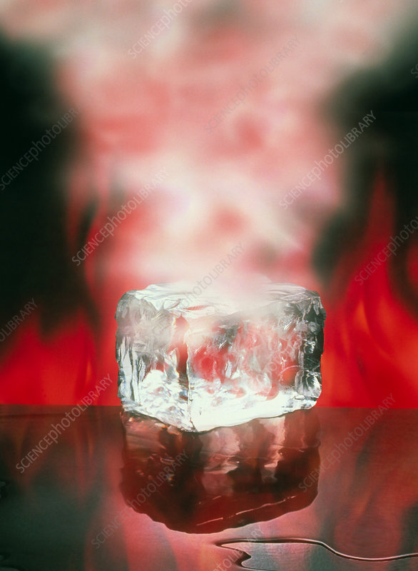 Three states of matter, ice, water, steam - Stock Image
