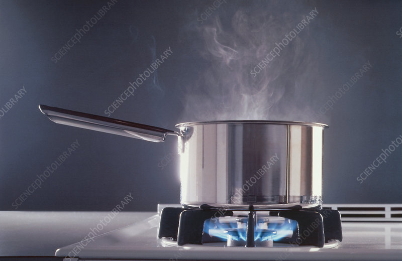 Gas flames heating water