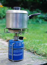 Camping stove in use